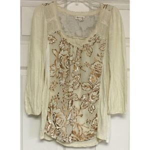 Anthropologie Meadow Rue Floral Overlay Top Cream